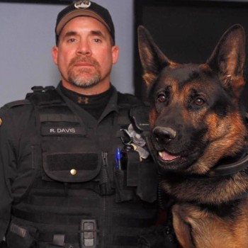 Officer Ryan Davis with Jethro / Photo:  Mike Ritland