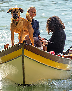 Dog and family on boat