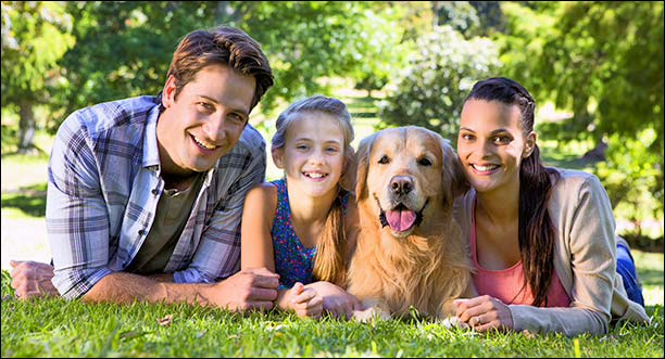 Family with Dog in a park